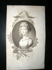 Belle Assemblee C1810 Engraved Portrait Print. Empress of the French